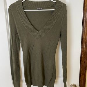 Olive green deep V Express sweater. Size M.